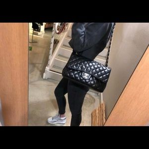 Authentic CHANEL Black Lambskin Jumbo Double Flap